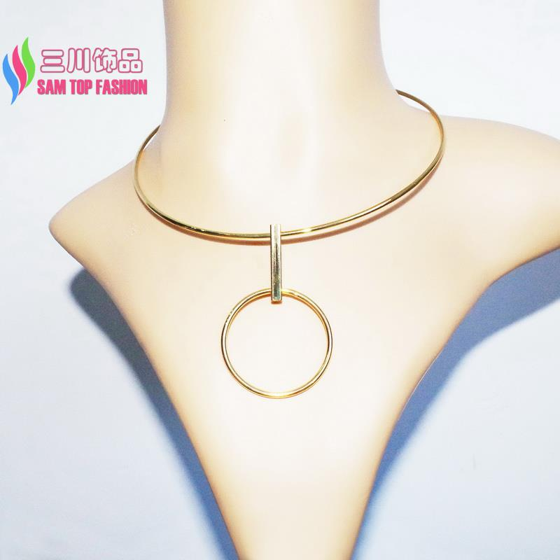 2016 wholesale Choker Fashion punk style Gold/Silver Plated Copper Big Circle Geometric Women's Collar Necklaces for show party(China (Mainland))
