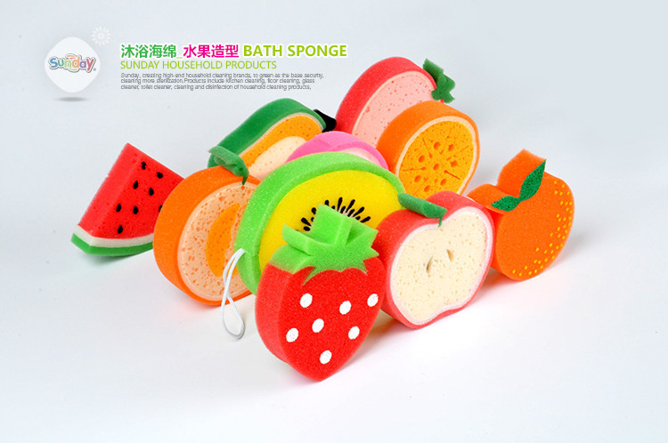 5pc Cartoon Bath Sponge Cleaning Sponge Bath Tn Bathroom Supplies Set Nelamine Fruit Shape Stock Sponge