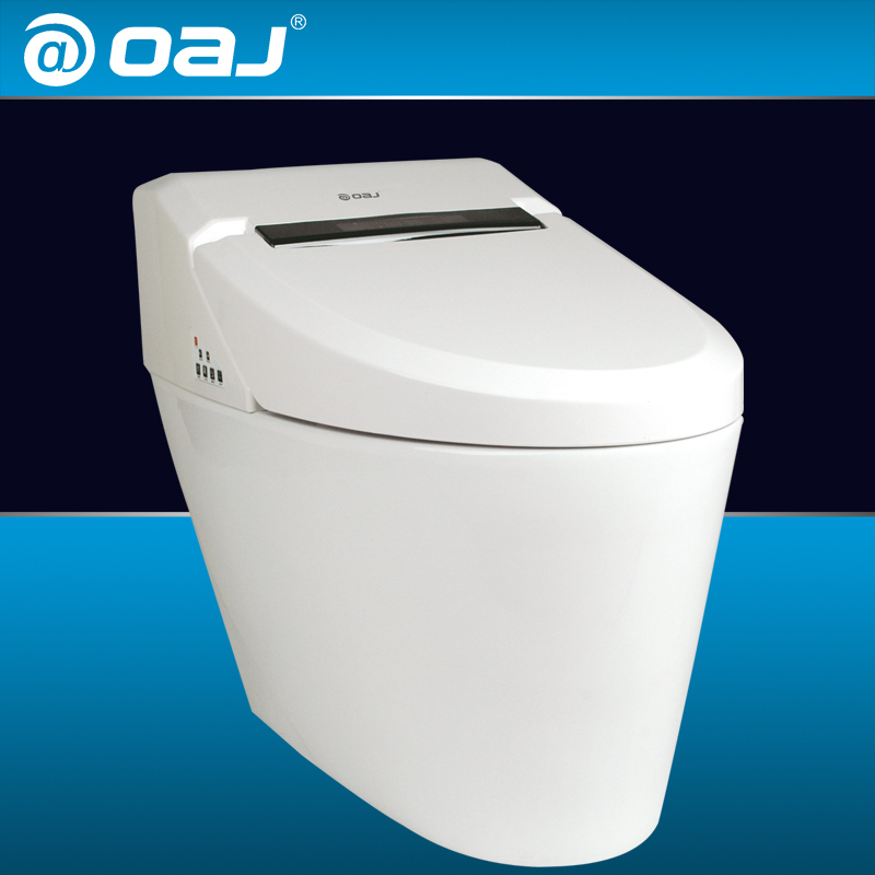 intelligent toilet smart toilet LED display one piece hip washing heat heating remote control automatic(China (Mainland))