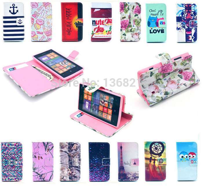 1PCS Luxury PU Leather Case For Nokia Lumia 520 N520 Owls Tower Tiger Flowers Fashion Style Flip Wallet Cover Cases(China (Mainland))