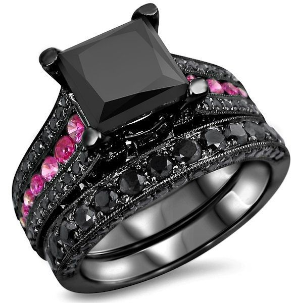 2 50ct Princess Cut Black Moissanite and Pink Sapphire Bridal Set Black Gold