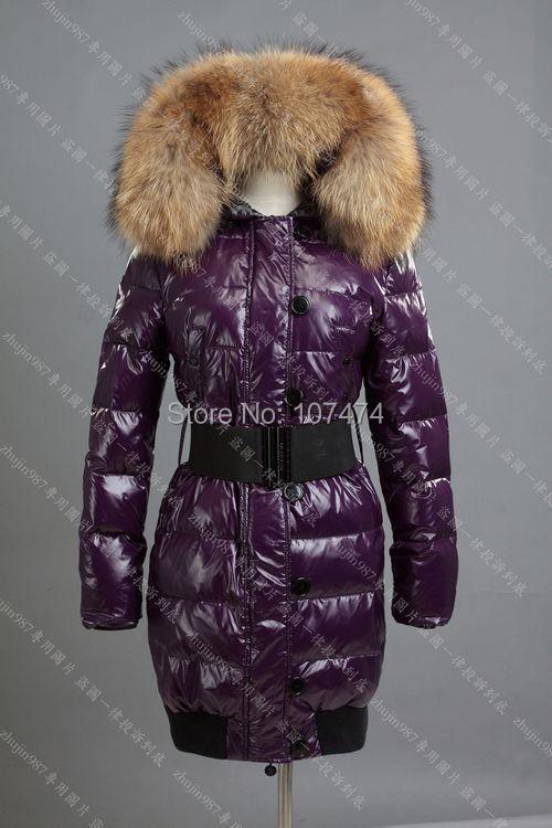 EMS winter fashion jacket women Big raccoon fur collar white duck womens outerwear Black Purple - prettygirl Love's store