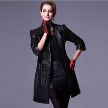 Luxury Spring Autumn Women's Genuine Real Sheepskin Leather Suede Coat 3/4 Sleeve Lady Outerwear VF0461(China (Mainland))