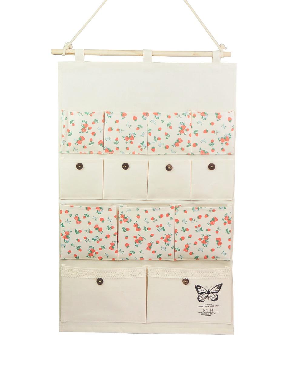 Linen/Cotton Fabric Wall Door Closet Hanging Storage Bag Case 13 Pockets Home Organizer(Sweet strawberry)(China (Mainland))
