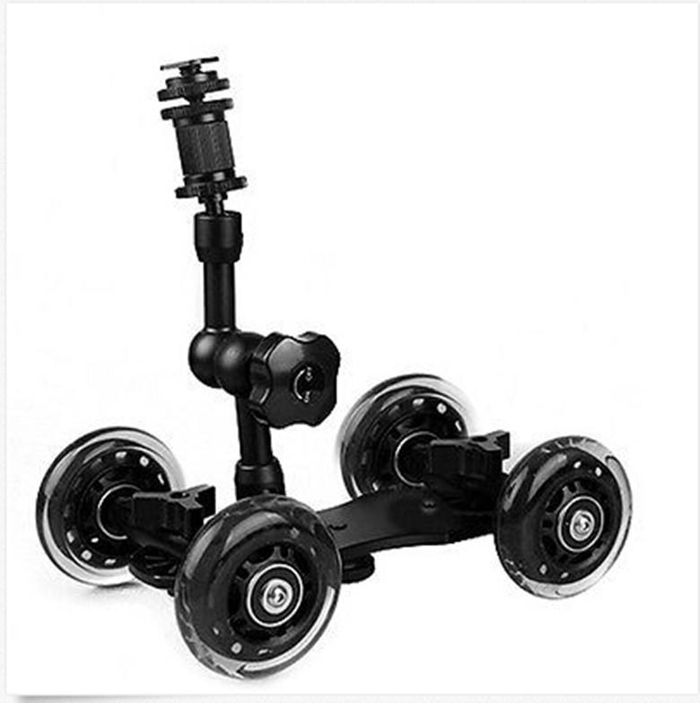"7"" Articulating Magic Arm + Black DSLR Skater Wheel Camera Truck Top Dolly Kit(China (Mainland))"