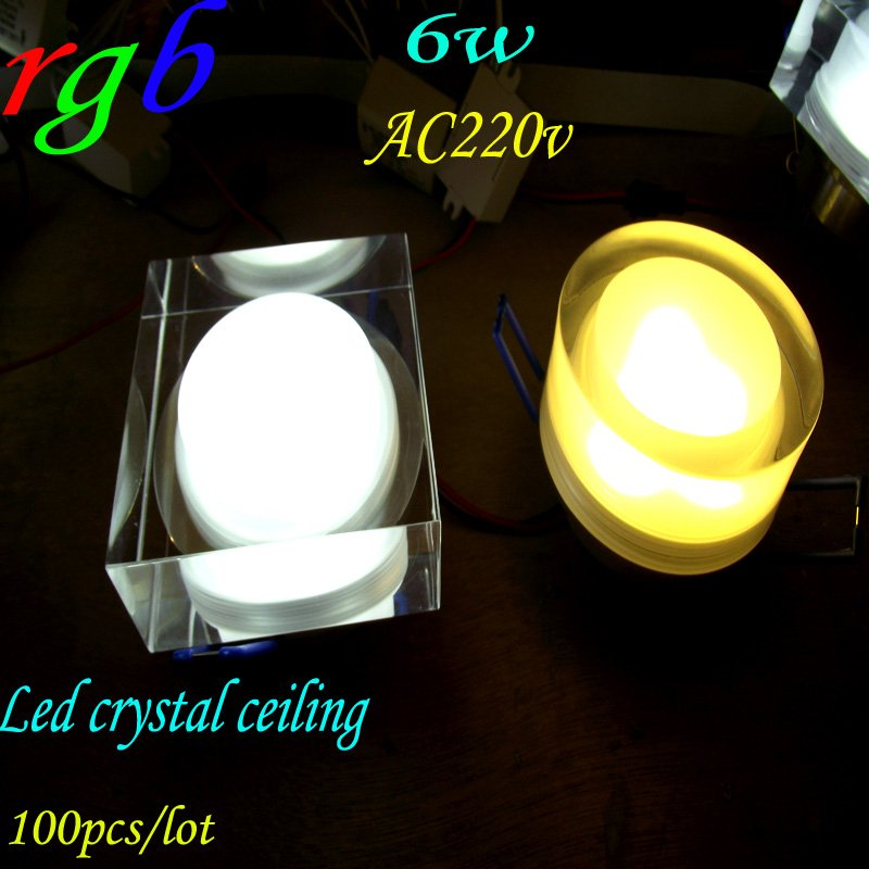 100pcs/lot FREE shipping 6*1 rgb square ceiling downlights AC220v 2pin modern crystal ceiling lamp Color variety best selling(China (Mainland))
