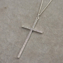 3426 long design  full rhinestone cross sweater necklace vintage silver pendant necklace