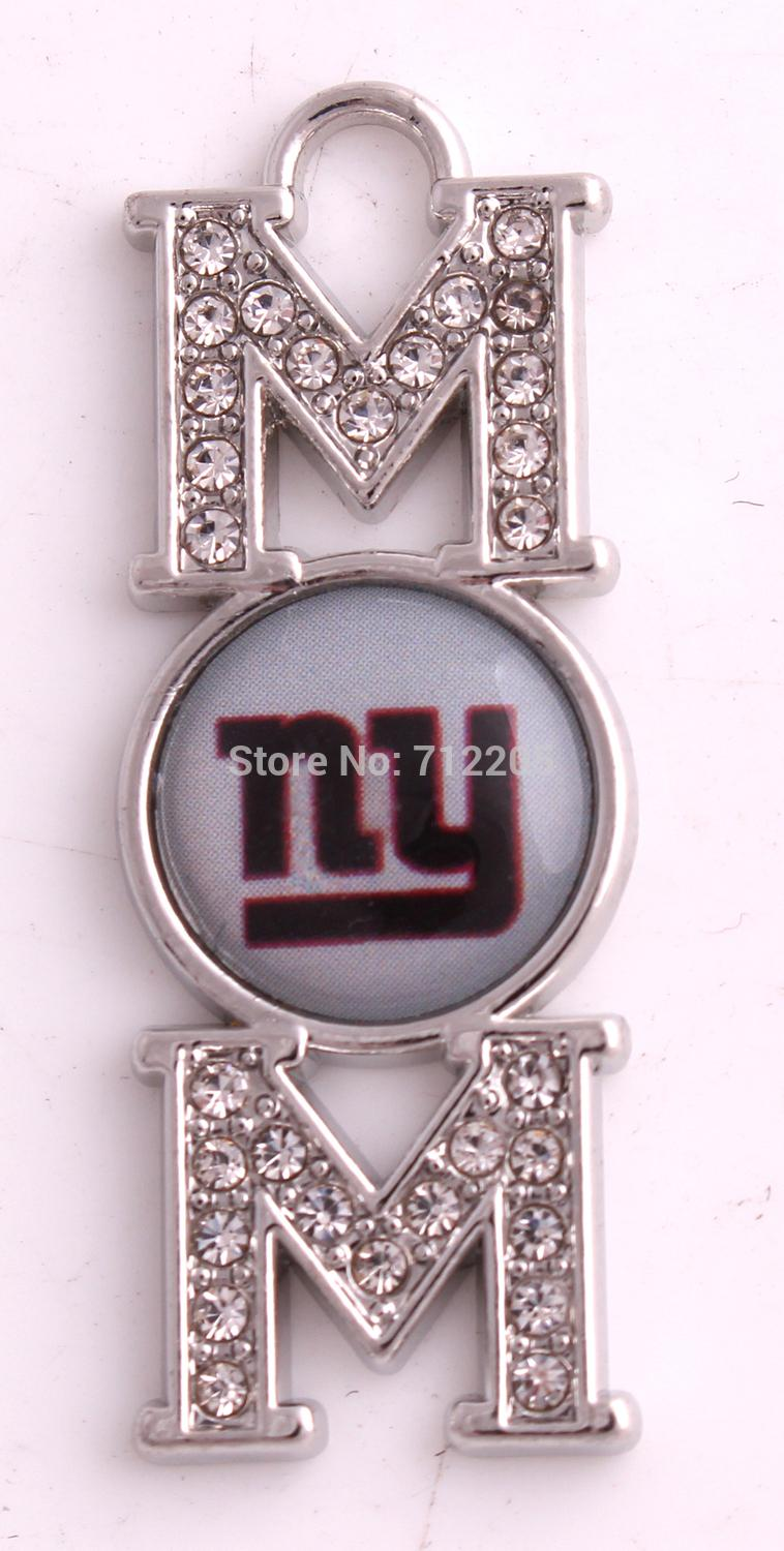 20pcs a lot crystal MOM New York Giants team logo sport pendant Mother's Day Gift DIY Jewelry(China (Mainland))