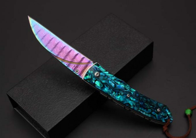 Buy Blue bird color titanium Damascus knife handle steel lines of the original shell pocketknife. cheap