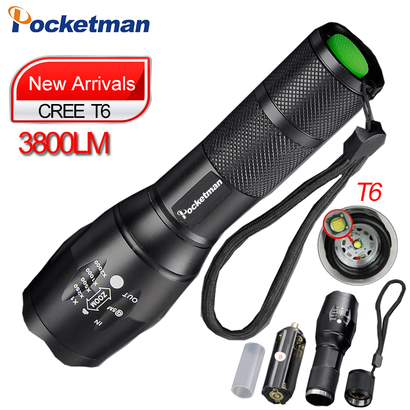 E17 zoom led flashlight 18650 torch CREE XML T6 3800LM Aluminum Zoomable Flash light Rechargeable Torch by 3x AAA Battery 18650(China (Mainland))