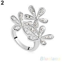 Women s Fashion Full Rhinestone Snowflake Zircon Alloy Wedding Party Jewelry Ring 1P6R