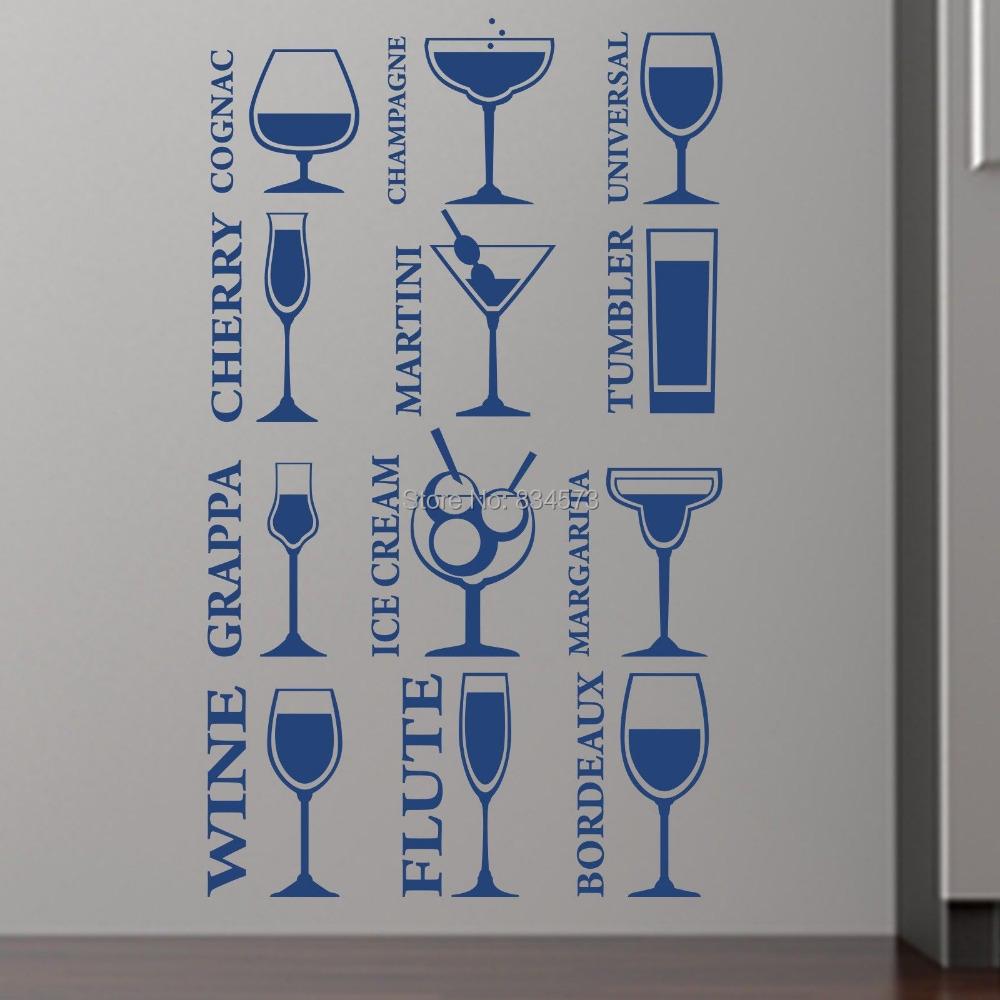 Vinho de cozinha champagne art adesivos de parede decalque for Decalque mural
