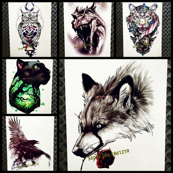 3D Sexy Wolf Waterproof Temporary Tattoo Body Art ARm Tatoo Women 21*15CM Men Fake Flash Water Transfer Black Tattoo Sticker Leg