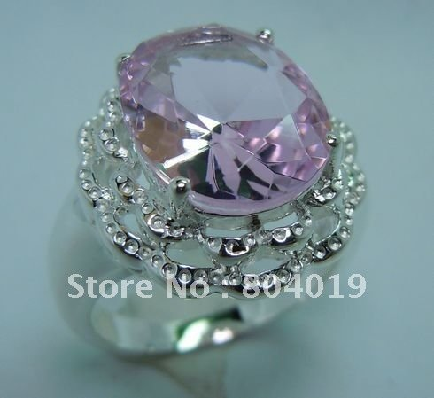 Free transport wholesale processing customized jewelry an impressive 100% pure natural pink topaz 925 silver ring(China (Mainland))