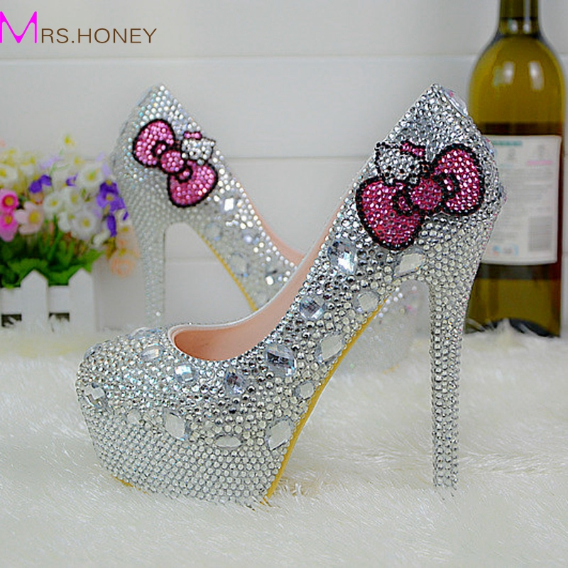 Hello Kitty Silver Rhinestone Bridal Wedding Shoes Graudation Party Prom High Heel Shoes Formal Dress Pumps Plus Size 45(China (Mainland))