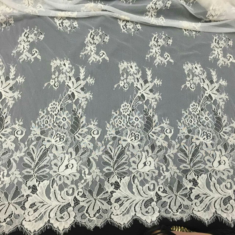 Factory supply french lace fabric off white bridal lace for White lace fabric for wedding dresses