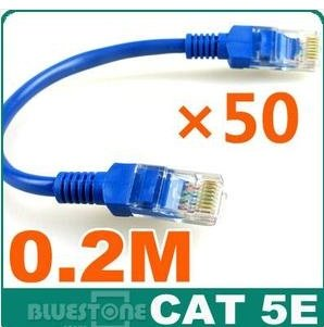 FreeSHipping50 x 20cm Network Cable Line Cat5E RJ45 Patch Cable Ethernet Lan 0.2M(China (Mainland))