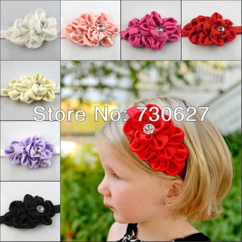 NEW Retail Infant Headbands Fabric Satin Flowes Baby rhinestone headband Children Hair Accessories(China (Mainland))