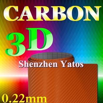 0.22MM Orange 3D Carbon Wrap Vehicle Foil 1.52*30M Air Bubble
