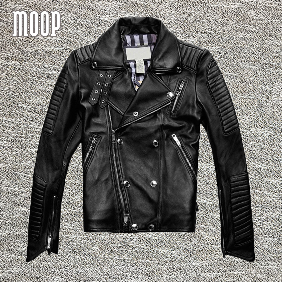 Black genuine leather jacket and coats men 100% Lambskin motorcycle jacket chaqueta moto hombre veste cuir homme cappotto LT077(China (Mainland))