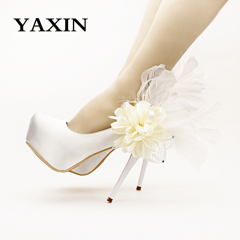 2016 New White Fashion flower feather bridal shoes high heels party shoes platform thin heels women's shoes satin lady pumps(China (Mainland))
