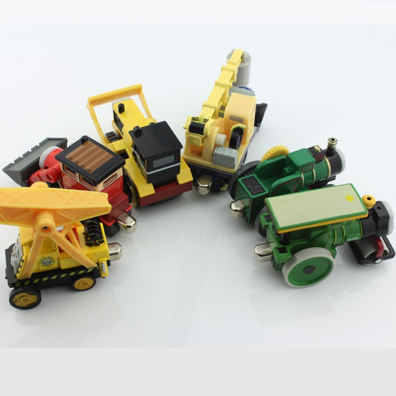 6pcs lot Children Thomas and pals trains particular trunks crane curler bulldozer tram caterpillar die forged Magnetic metallic  toys
