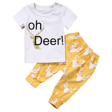 Buy Oh Deer Toddler Newborn Baby Boys Girls Clothes T-shirt Tops Pants Outfits Set Children Kids Infant Boy Girl Clothing Cotton for $5.14 in AliExpress store