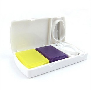 Free shipping Smart Pill Medicine Multifunctional Case Storage  Organizer Case Box w Tablet Cutter