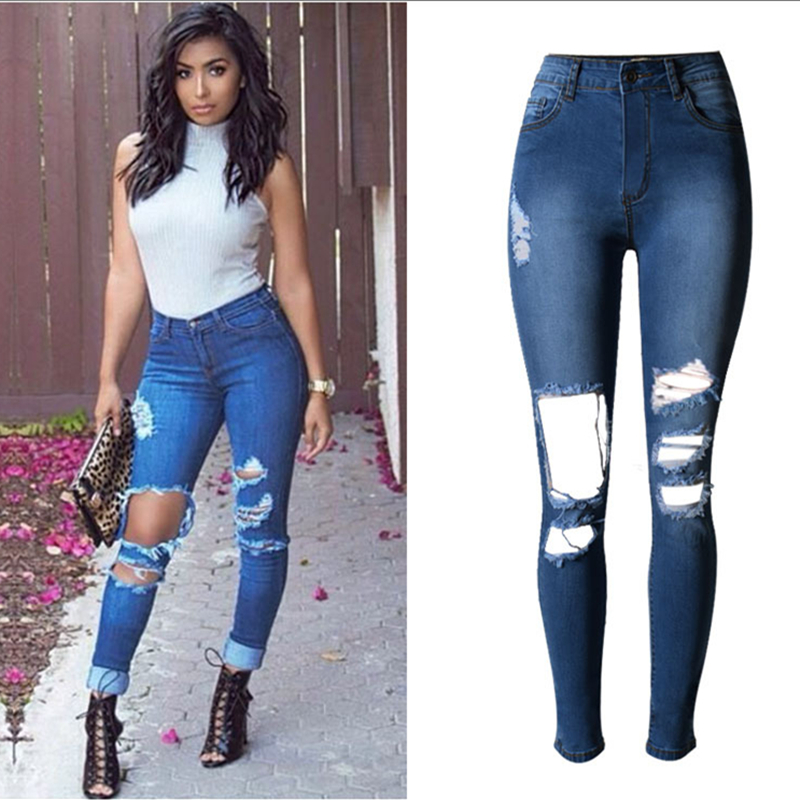 Fashion high waist Pencil Pants jeans woman ripped jeans for women jeans femme Hole denim pants jean Scratched pantalones(China (Mainland))