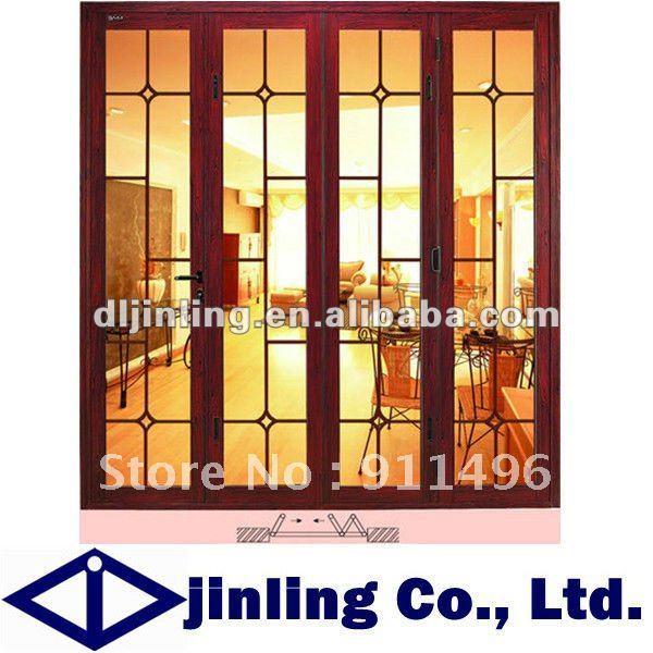 Buy Folding Wooden Door Soundproof Folding Interior Door Froested Glass Folding