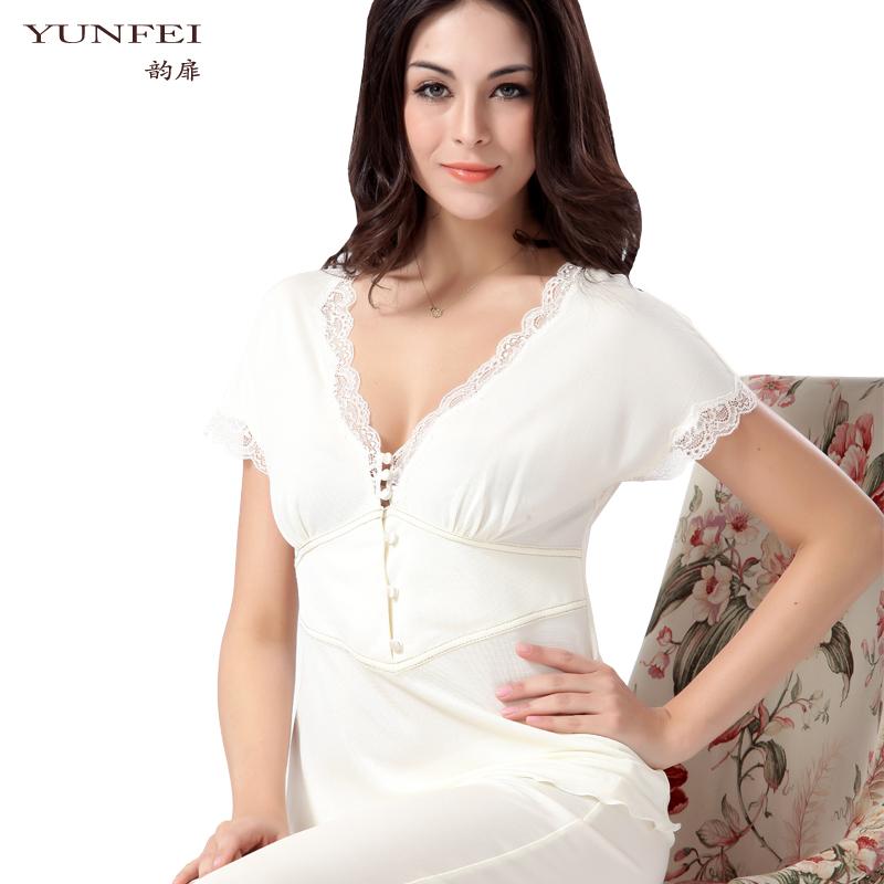 New 100% Pure Mulberry Silk Knitted Sleep Lounge suit Female Short sleeve sexy white Sleepwear V-neck Slim Pajama Sets for womem(China (Mainland))