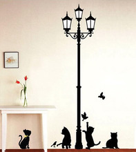 Ancient Lamp Black Cats and Birds Cartoon Wall Sticker DIY Wall Mural Home Decor Kids Baby Room Decals Door Decoration Stikers(China (Mainland))