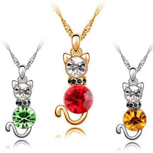 Austria crystal necklace - guaiguai 4336 48 - cat