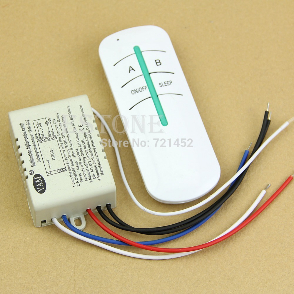 Free Shipping AC 220V ON OFF 2 Ways Wireless Lamp Remote Control Switch Receiver Transmitter