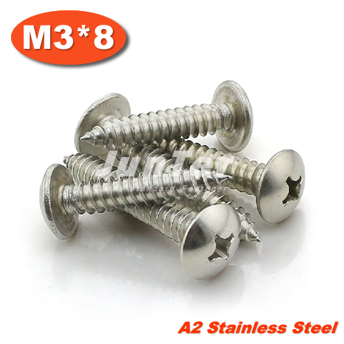 1000pcs/lot M3*8 Stainless Steel A2 Phillips Truss Head (Cross Recessed Mushroom Head) Self Tapping Screws<br><br>Aliexpress
