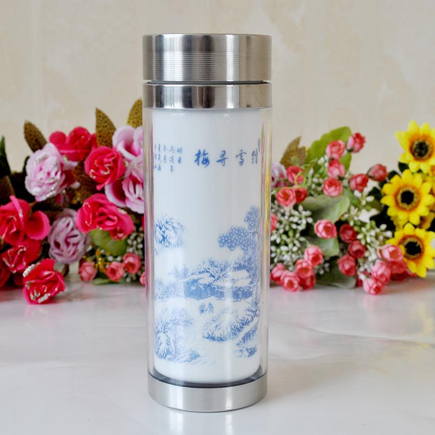 Supply Jingdezhen Ceramic liner mug Taxuexunmei blue double bone china tea cup with a septum 4719<br><br>Aliexpress