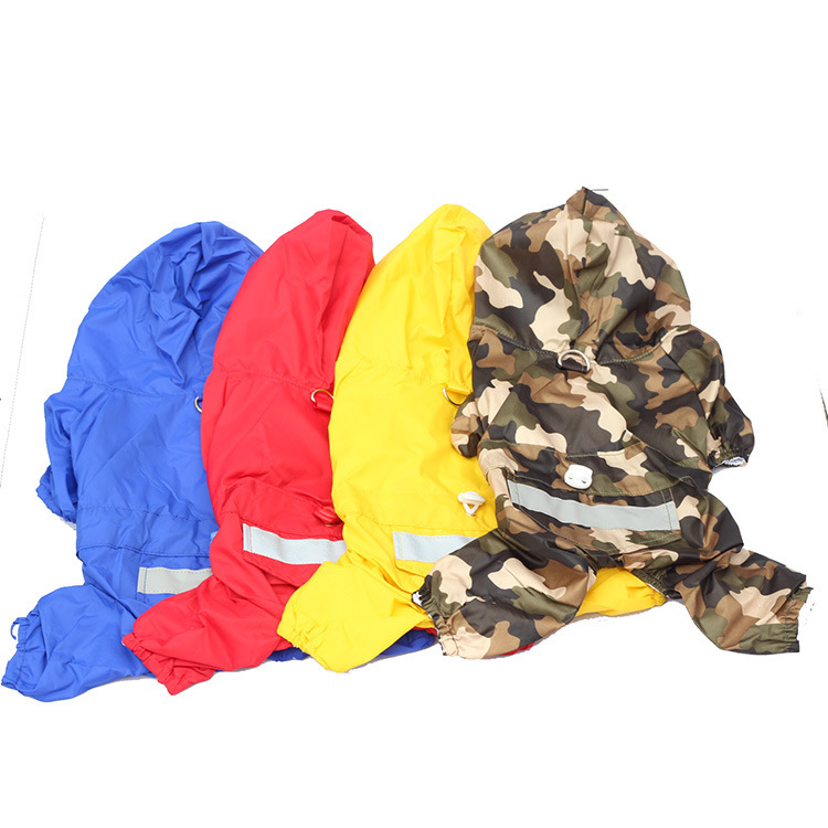 Pet Raincoat Double layer breathable Dog Raincoats Waterproof blue/red/yellow/camouflage Dog Poncho Dog Waterproof Clothes(China (Mainland))