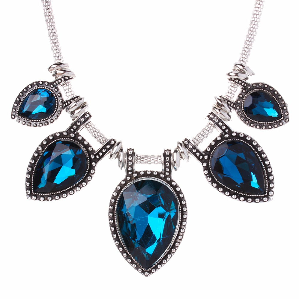 Anti Silver Plated Vintage Jewelry Waterdrop Big Crystal Statement Choker Retro Pendant Necklace For Ladies XL5157