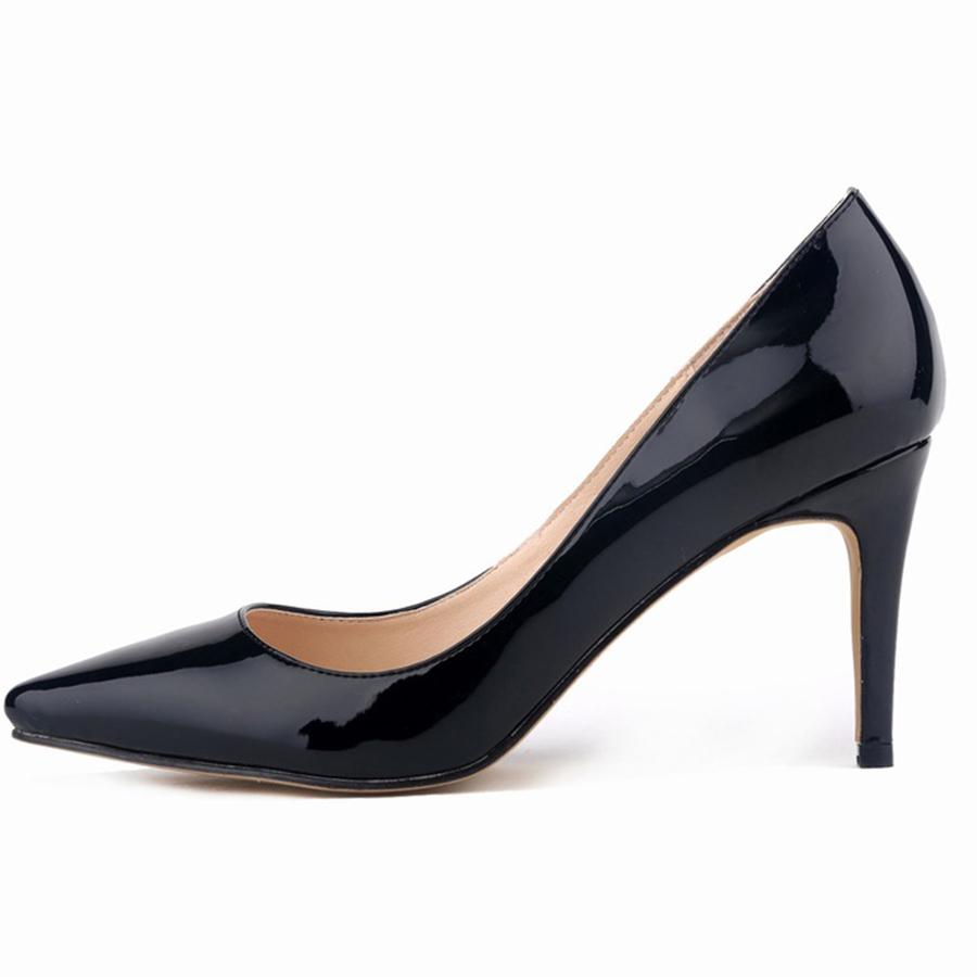 New Europe fashion women's shoes pointy stiletto solid Asakuchi heels women's shoes high heels
