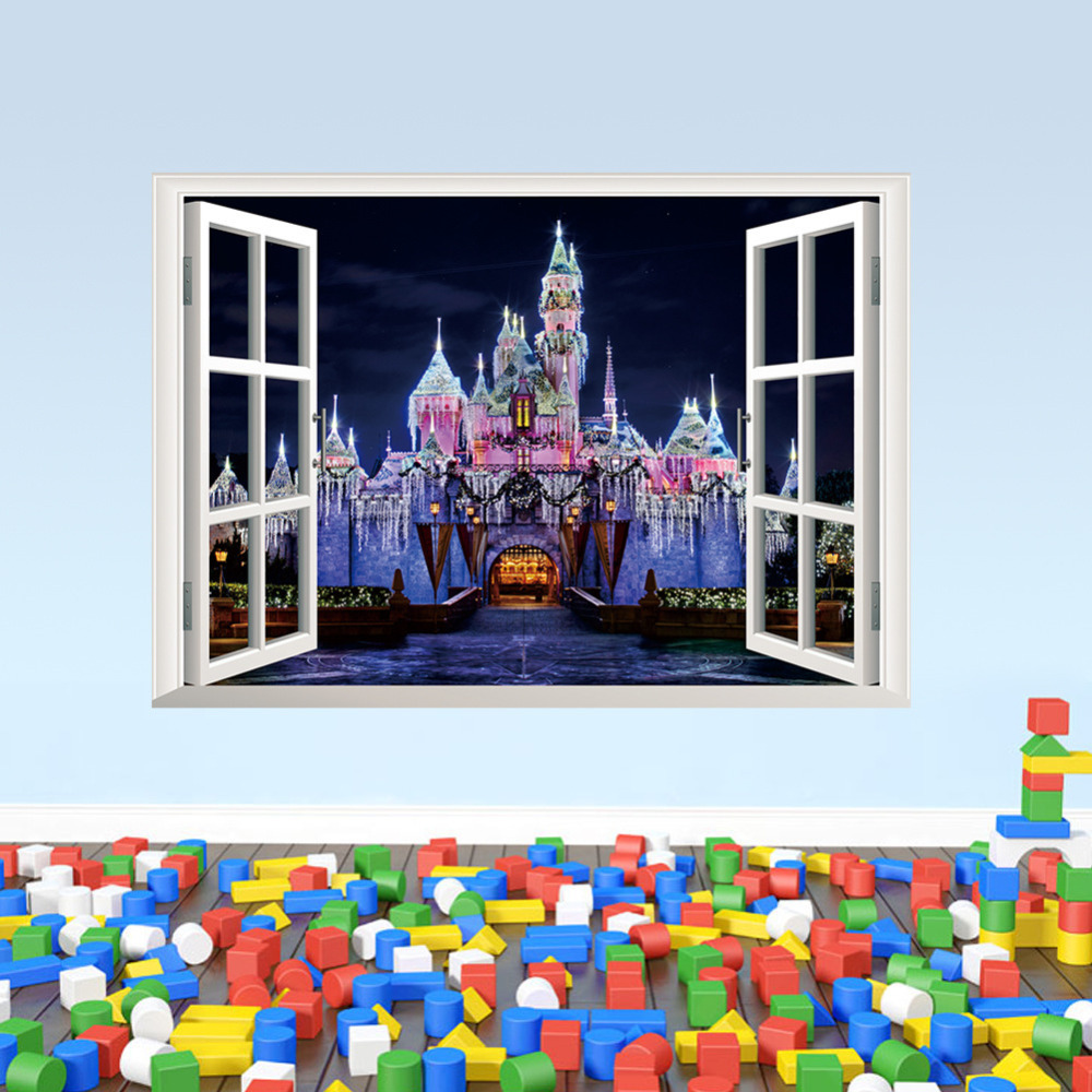 Exotic beach view 3d window decal castle wall sticker home for Beach wall mural sticker