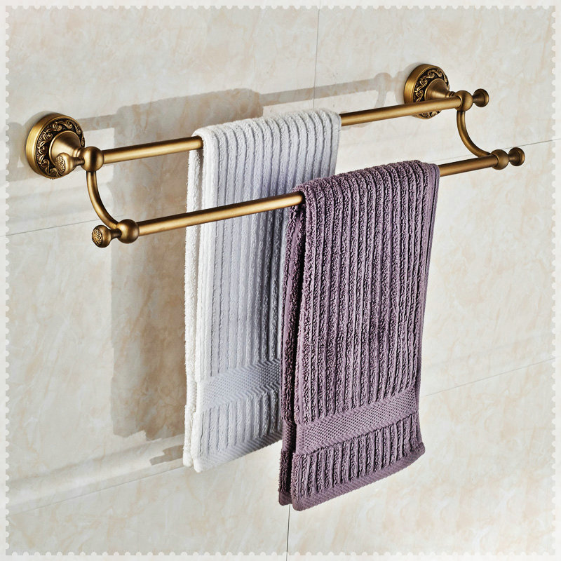 Antique Brass Double Towel Bar Wall Mounted Bathroom Towel Rack Torneira In Towel Racks From
