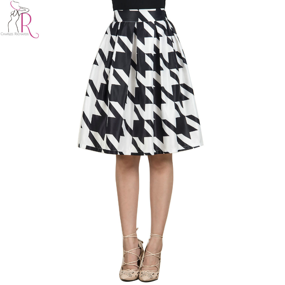 White Black Color Block Houndstooth Midi Pleated Skirt A Line Casual Fall 2016 Spring Women High Waist Skater Clothing(China (Mainland))