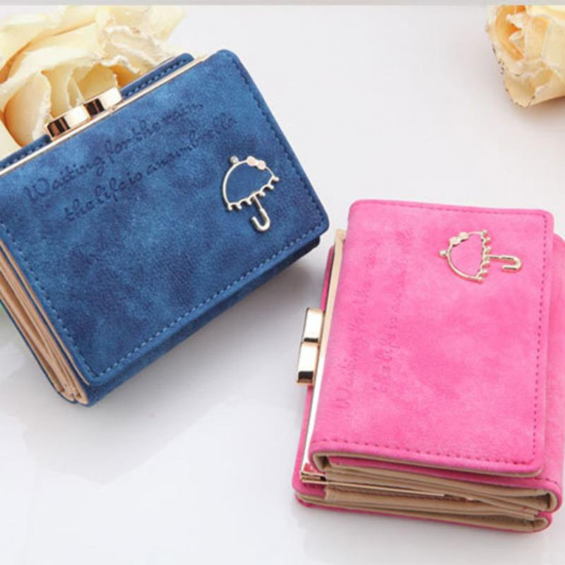 2016 New Fashion Cute Nubuck leather women wallets Lovely Umbrella Short wallet card holder coin purse(China (Mainland))