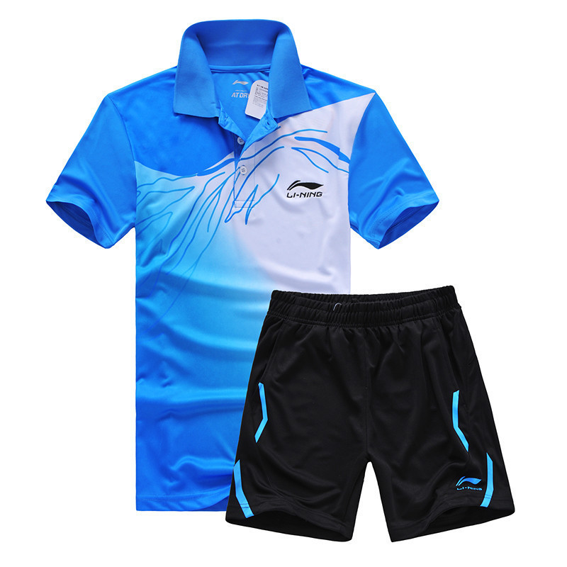 New Genuine sports series wicking breathable clothing badminton men's t-shirt table tennis clothes suit shirt + shorts 5020AB(China (Mainland))