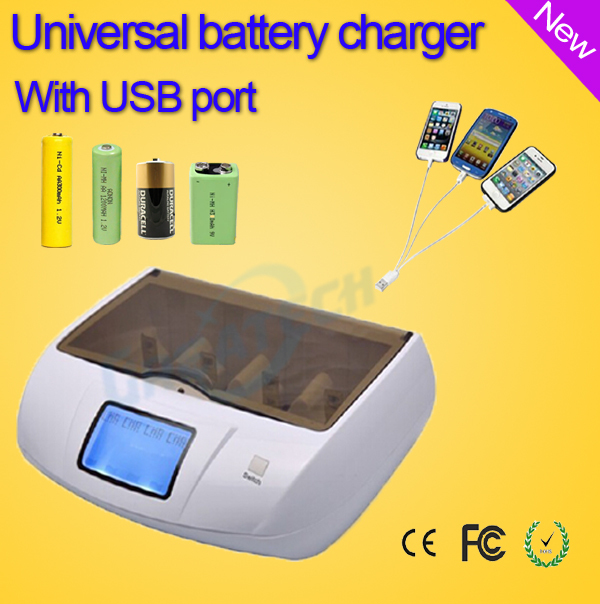 LCD Universal Battery Charger for rechargeable battery aa / aaa / NiCd / 9v Alkaline and mobile phone bateria 18650 usb charger(China (Mainland))