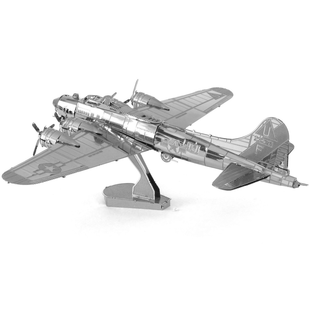 WW2 B-17 Flying Fortress Airplane Fun 3D Metal DIY Miniature Model Kits Puzzle Toys Children Educational Boy Splicing Science(China (Mainland))