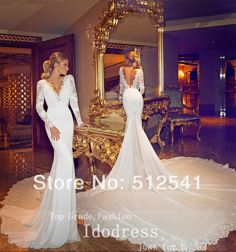 Backless v neck trumpet mermaid chaple train 2015 wedding for Long sleeve chiffon wedding dress