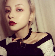 Newest Sexy Harajuku Handmade Faux Leather Collar Punk Goth Heart Choker Necklace With Love Round Lock