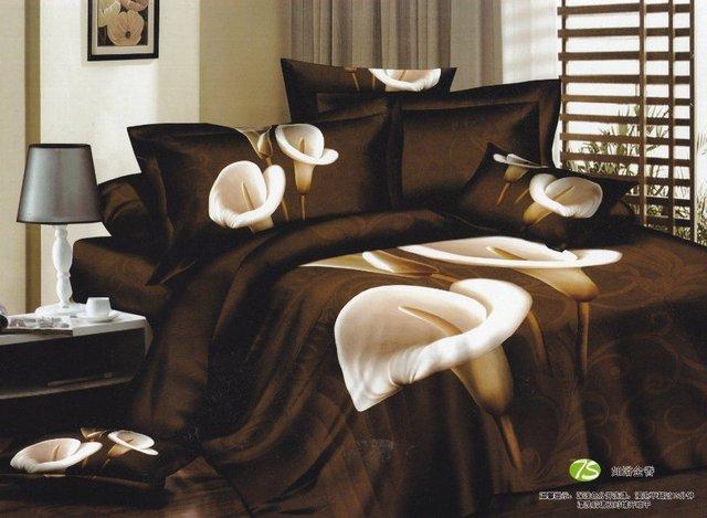 Hot Beautiful 4PC 100% COTTON COMFORTER DUVET DOONA COVER SET QUEEN / KING SIZE bedding set 4pcs Deep brown Calla