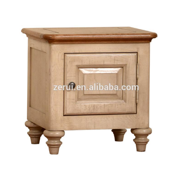 Solid wood oak furniture antique white 1 door bedside cabinet(China (Mainland))